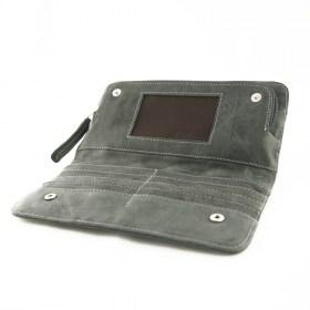 Portefeuille cuir et fibre IBIS GRIS fait main
