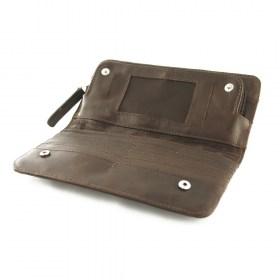 Portefeuille cuir et fibre IBIS Marron fait main